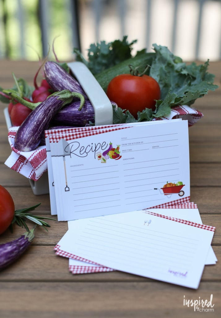Adorable Farmers Market Recipe Card Printable - Free Download #free #download #recipecard #recipecards #farmersmarket #summer