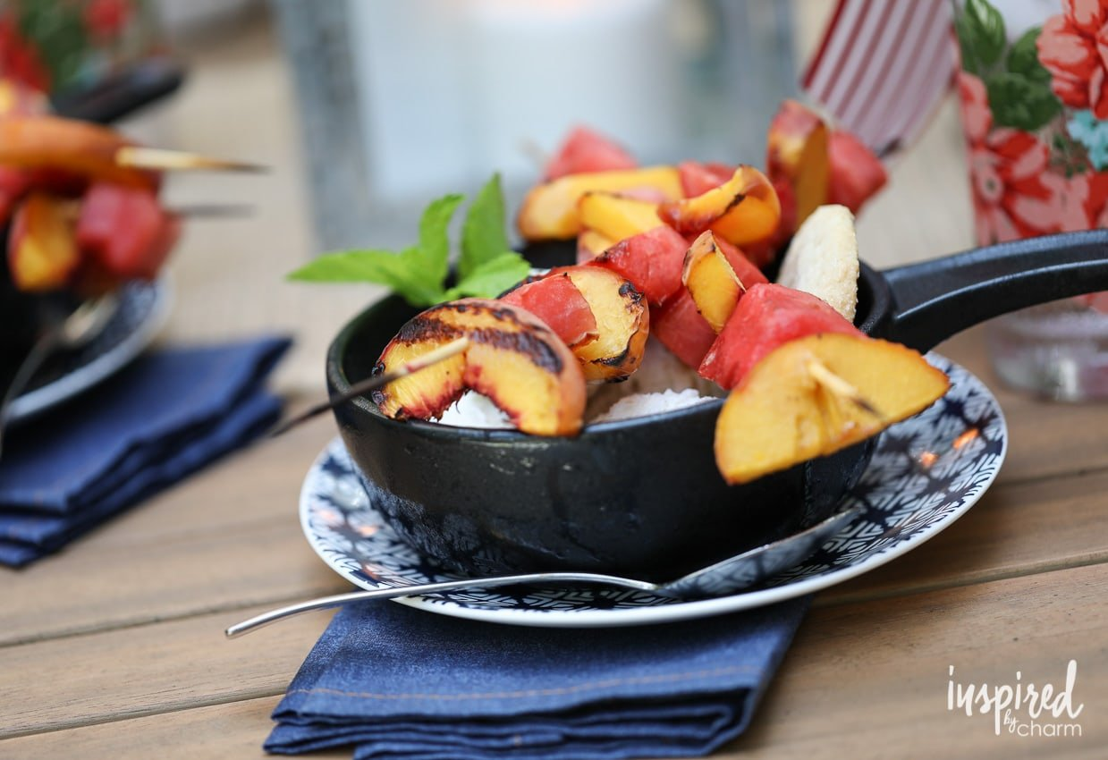 These Grilled Peach and Watermelon Kabobs with Ice Cream make a delicious summer dessert! #kabobs #dessert #peaches #watermelon #grilled #recipe