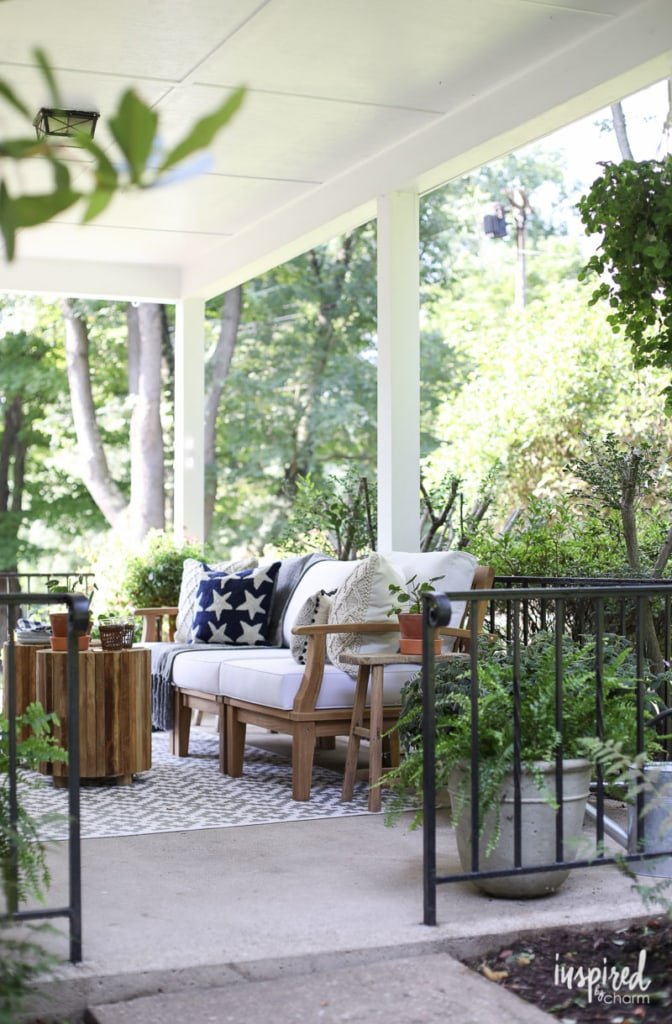 Gather ideas for styling your porch for summer from this Modern Colonial Porch Styling #porch #decor #decorating #outdoor #furniture