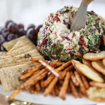 Try this Cranberry Bacon & Walnut Cheeseball for a delicious and easy fall appetizer recipe. #fall #cheeseball #cranberry #bacon #appetizer #recipe