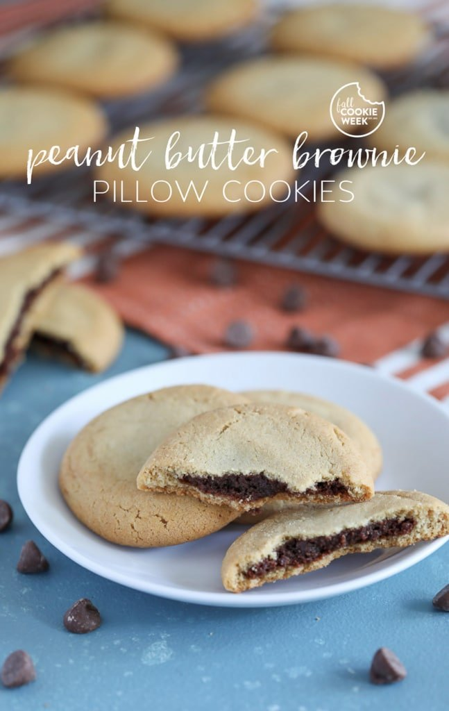 The best Peanut Butter Brownie Pillow Cookie recipe! #peanutbutter #brownie #cookie #fallbaking #fallcookieweek