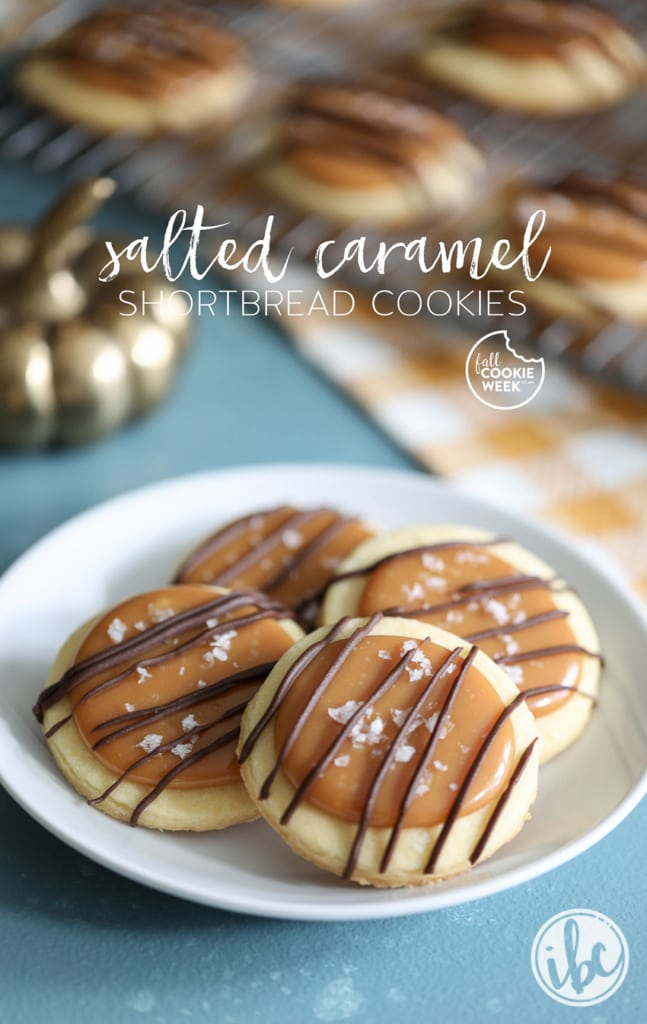 These Salted Caramel Shortbread Cookies are a delicious fall treat. #cookie #saltedcaramel #shortbread #fallcookieweek #fallbaking #dessert #recipe