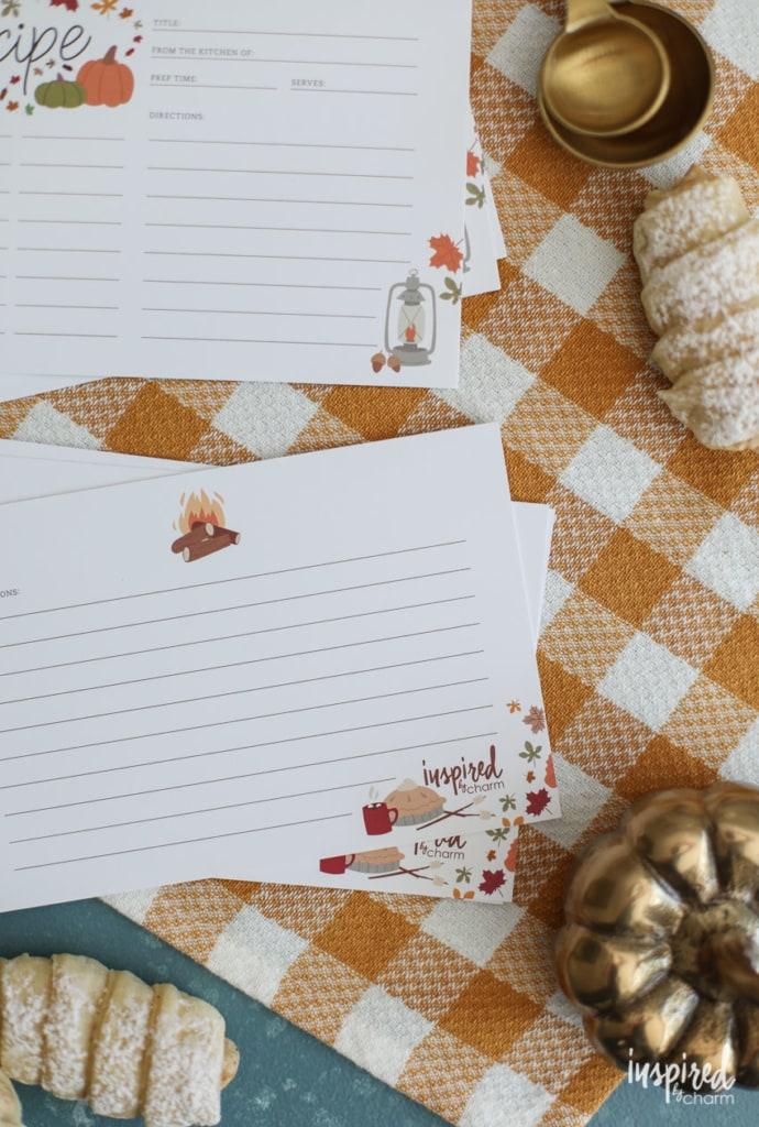 Free Printable Recipe Cards for Fall #fall #recipecard #printable #autumn