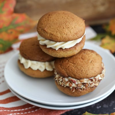 Pumpkin Whoopie Pies with Salted Caramel Cream Cheese Frosting