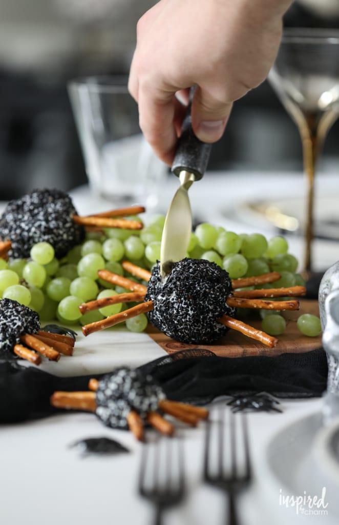 Spooky Spider Cheeseball for Halloween #appetizer #recipe #halloween #snack #cheeseball #spooky