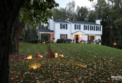 Outdoor Halloween Decorations and My Porch at Night #halloween #fall #decor #decorations #outdoor #porch
