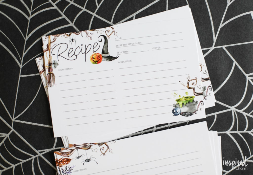 Free Printable Recipe Cards for Halloween #printable #recipecard #halloween #printablerecipecards #spooky #haunted