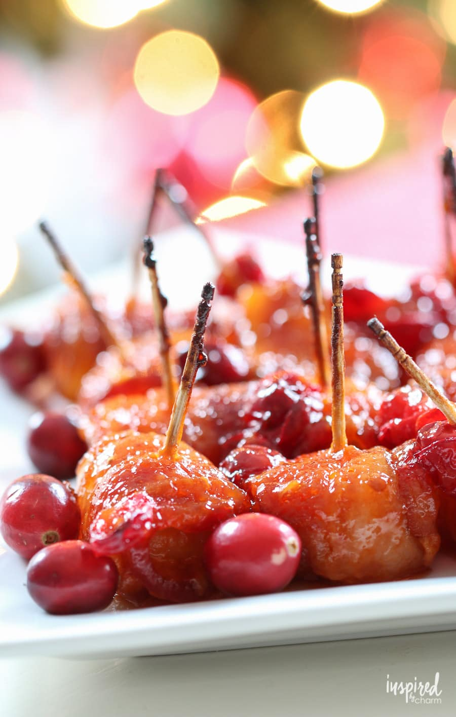 Cranberry Bacon-Wrapped Water Chestnuts