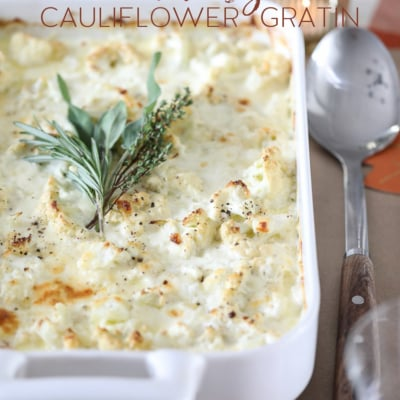 This Cheesy Cauliflower Gratin makes the most delicious holiday side dish. #cauliflower #vegetable #sidedish #recipe #thanksgiving #christmas