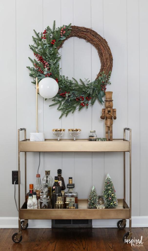 Ideas for styling Creative Christmas Bar Cart #barcart #christams #holiday #bar #cocktails
