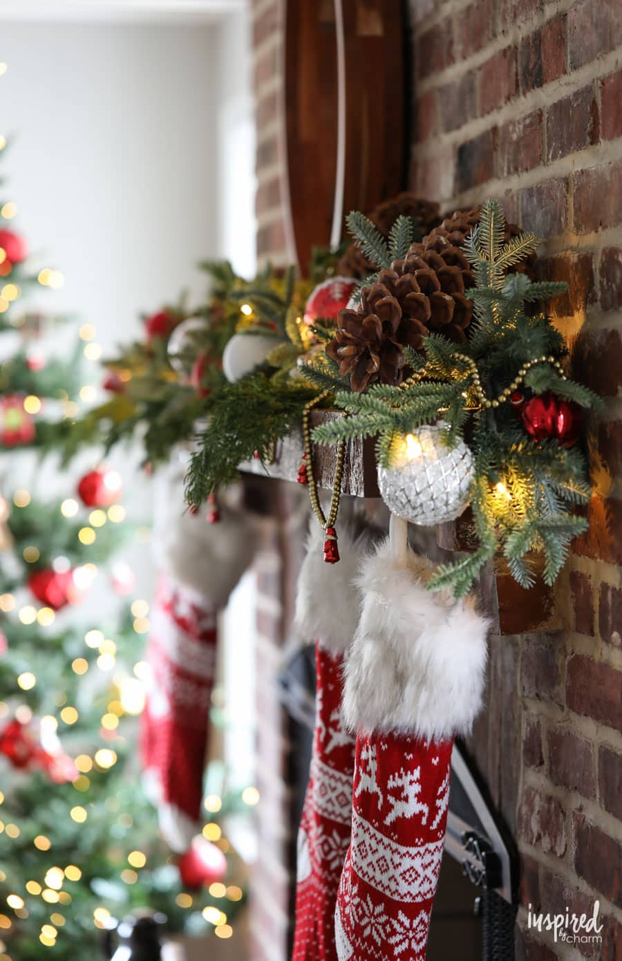 Red and Rustic Christmas Mantel - holiday decorating ideas