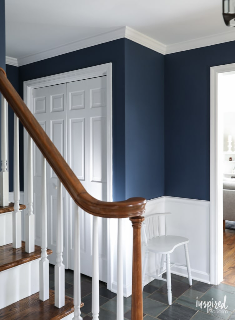 A look at my newly painted entryway. Color: Farrow and Ball Stiffkey Blue