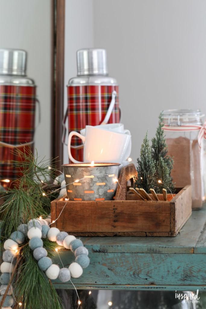 Styling a Hot Cocoa Bar Cart #christmas #holiday #barcart #entertaining #hotchocolate