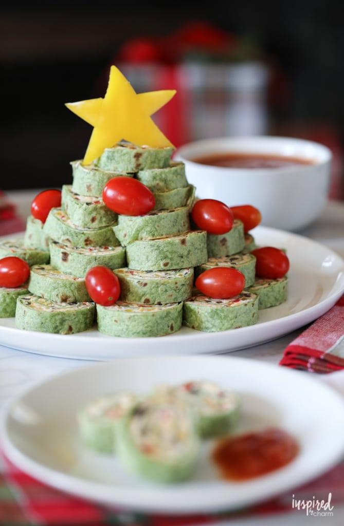 Christmas Tortilla Roll-ups Appetizer recipe #christmas #appetizer #pinwheel #rollup #recipe