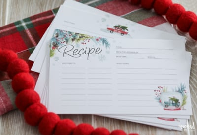Free Download: Printable Recipe Cards for Christmas #christmas #recipecards #recipe #card #printable #holiday