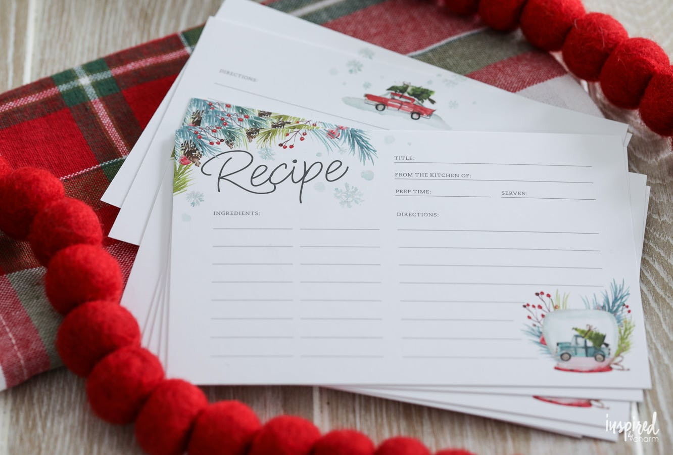 printable recipe cards for christmas