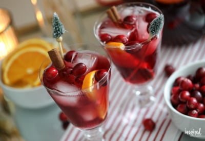 A delicious and easy Non-Alcoholic Sangria for Christmas #christmas #holiday #sangria #mocktail #recipe #drink