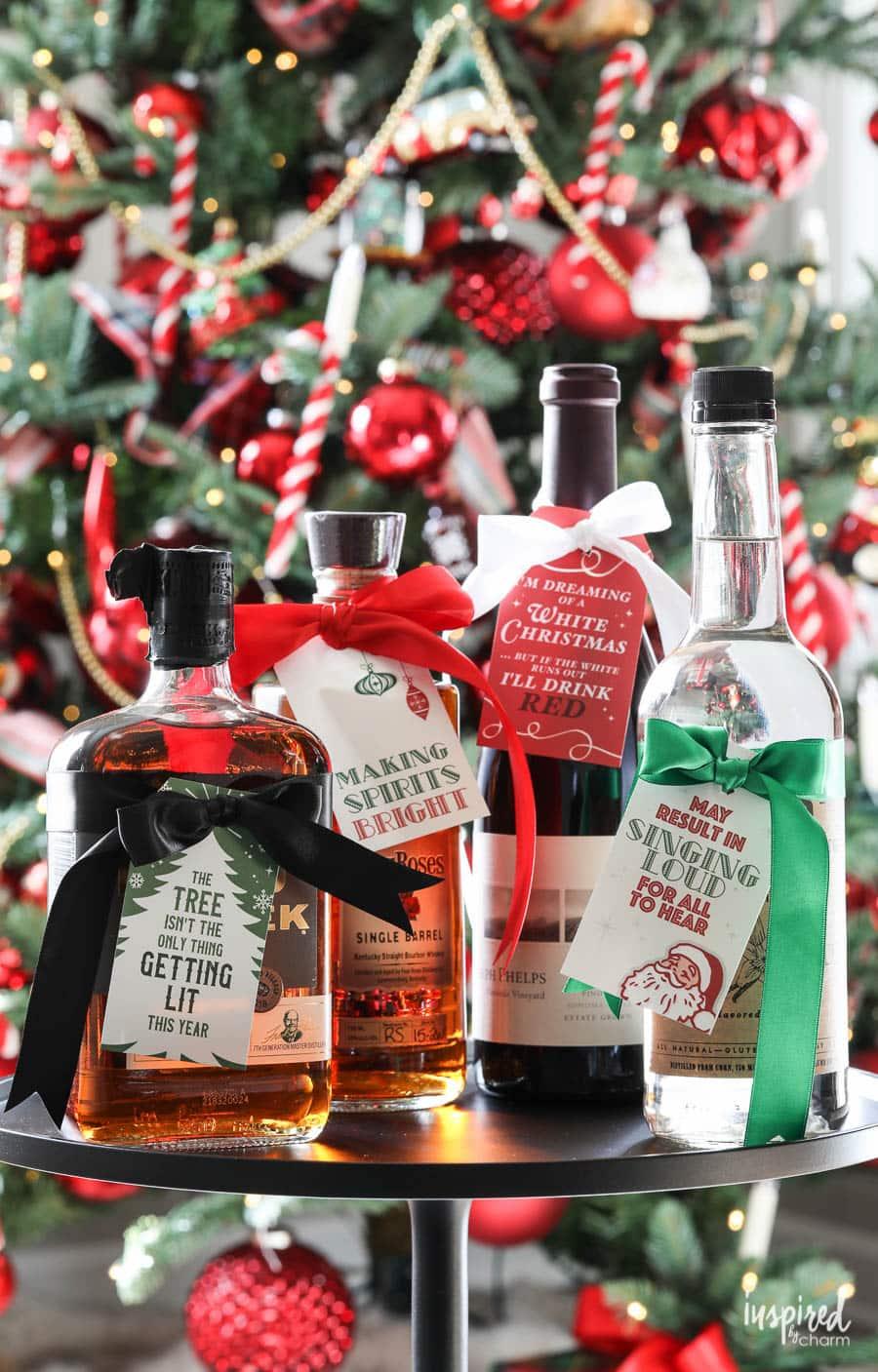 Printable Christmas Bottle Hang Tags #download #printable #christmas #holiday #tags #gifttags