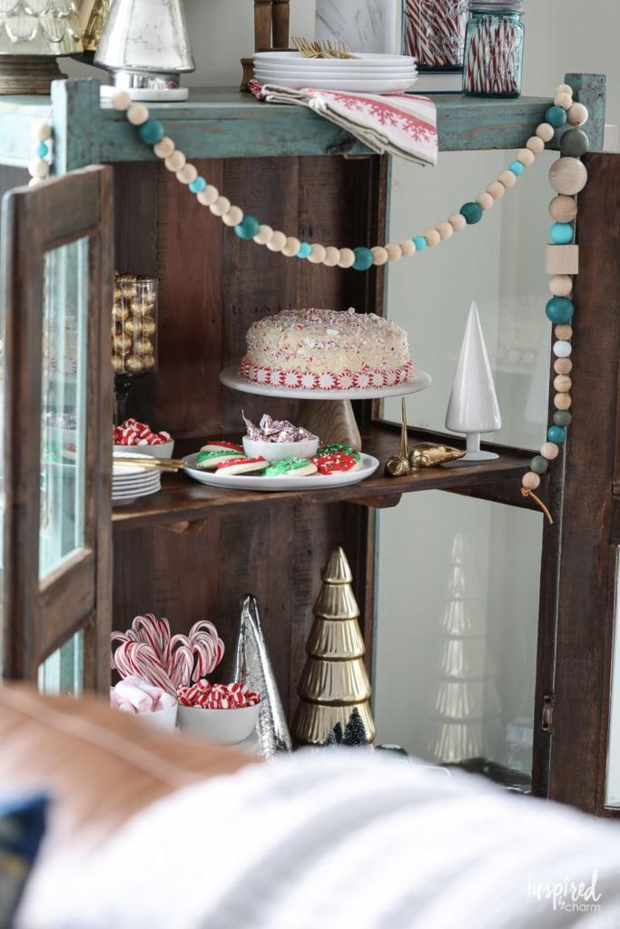 Styling a Christmas Dessert Bar Cart #christmas #holiday #barcart #entertaining