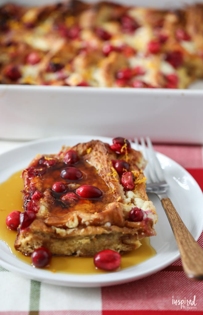 This Mascarpone Cranberry French Toast recipe makes the perfect holiday breakfast! #breakfast #recipe #frenchtoast #cranberry #mascarpone #holiday #christmas
