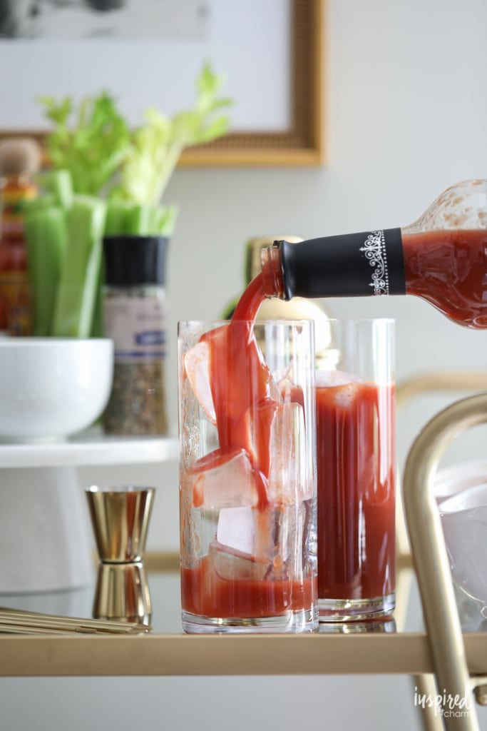 How to style a Bloody Mary Bar Cart #bloodymary #cocktail #barcart #holiday #christmas