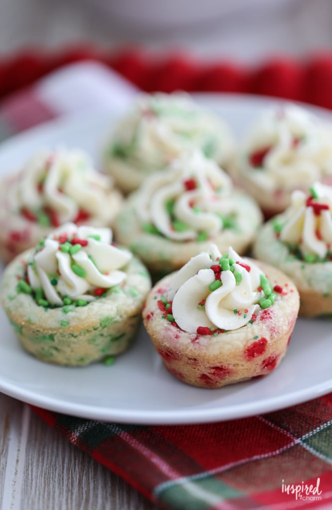 These colorful Christmas Sprinkle Cookie Cups are a delicious and easy to make Christmas Cookie. #christmas #cookie #recipe #dessert #holiday #sprinkles