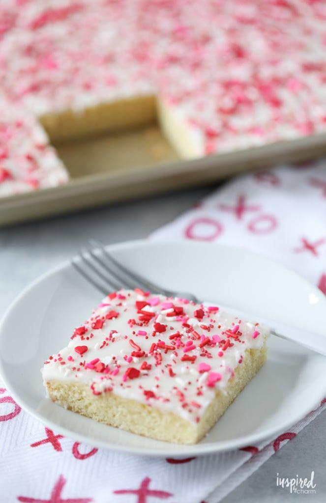 White Texas Sheet Cake for Valentine's Day #cake #texassheetcake #valentinesday #dessert #recipe