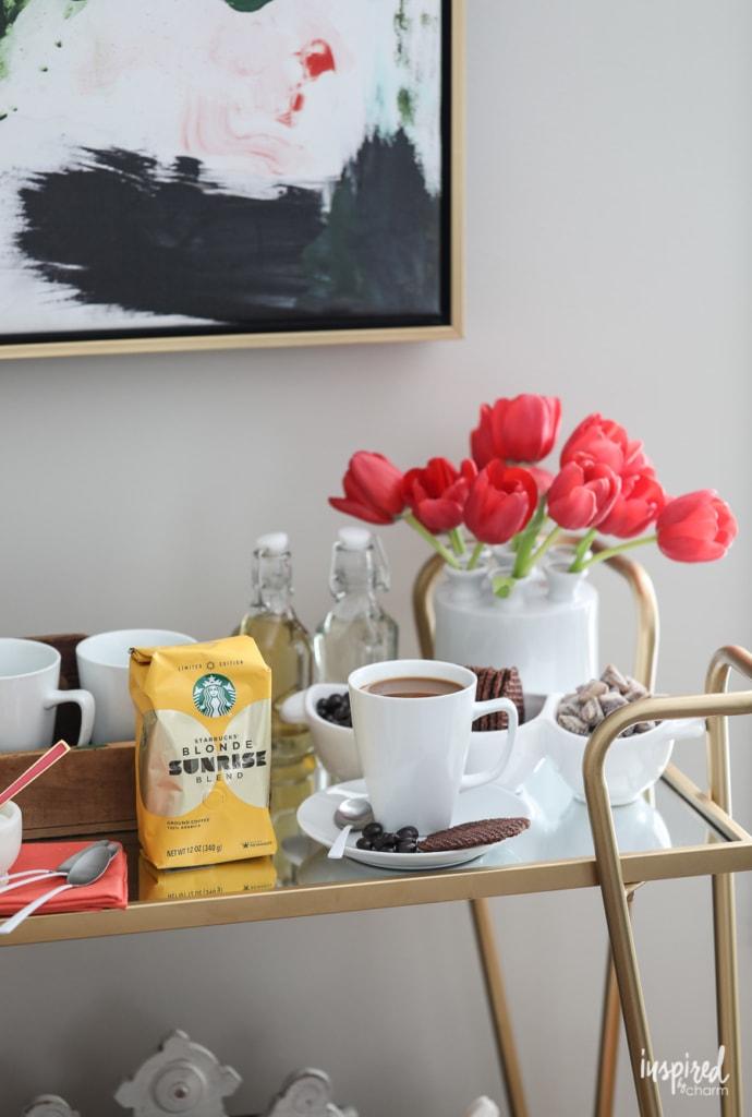 Tips for Styling a Spring Coffee Bar #spring #coffee #starbucks #blonde #coffeebar