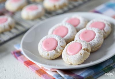 Pink Lemonade Thumbprint Cookies #spring #easter #cookie #thumbprint #recipe #lemonade