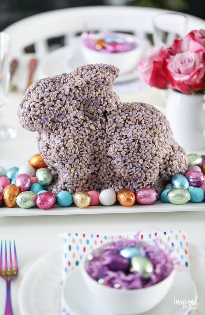 Bunny Rice Krispies Treat for Spring and Easter #dessert #recipe #spring #ricekrispies #easter #bunny