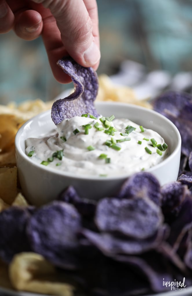 Really Good Chip Dip made with fresh herbs! #dip #chipdip #chips #recipe #appetizer #recipe