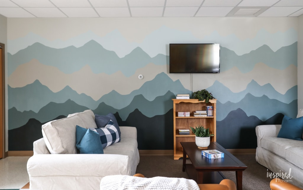 Before and After Senior Center Makeover #swpaintingweek #makeover #mountain #mural #painting