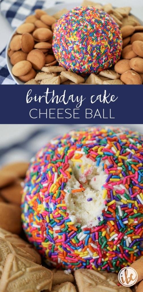 A Colorful Birthday Cake Cheese Ball dessert recipe! #cheeseball #birthday #birthdaycake #cake #batter #dessert #recipe #funfetti