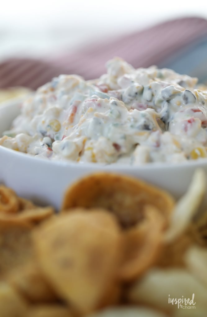 This Loaded Veggie Ranch Dip is and easy and delicious appetizer. #ranch #dip #corn #recipe #appetizer #ranchdip