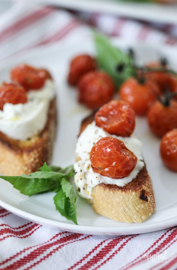 Delicious Roasted Tomato and Burrata Crostini Appetizer Recipe #roasted #tomato #burrata #crostini #appetizer #recipe