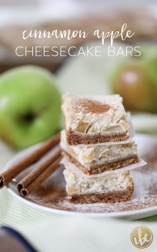 These Cinnamon Apple Cheesecake Bars are a delicious fall dessert recipe. #apple #cinnamon #cheesecake #bars #dessert #recipe #fallbaking #apples