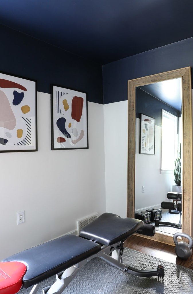 Sherwin-Williams Color of the Year Naval Two-Day Makeover #makeover #sherwinwilliams #coloroftheyear #navel #homegym #beforeandafter #paint #navy