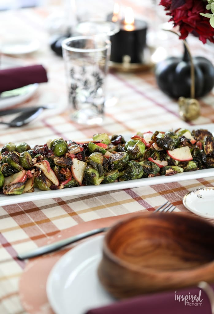 Brussels Sprouts with Apples and Cranberries #fall #sidedish #brusselssprouts #apples #cranberries