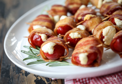 These Bacon-Wrapped Stuffed Peppadew Peppers make a delicious holiday appetizer! #bacon #wrapped #peppadew #peppers #creamcheese #holiday #christmas #appetizer #recipe