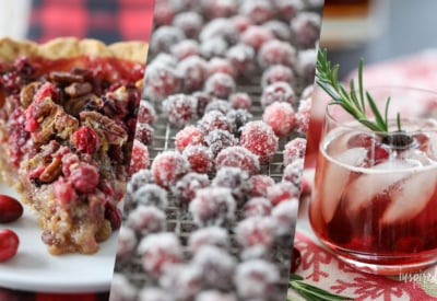 A collection of my favorite Cranberry Recipes perfect for the holiday season! #cranberry #recipes #thanksgiving #christmas #dessert #cocktail #holdiay #baking #appetizers