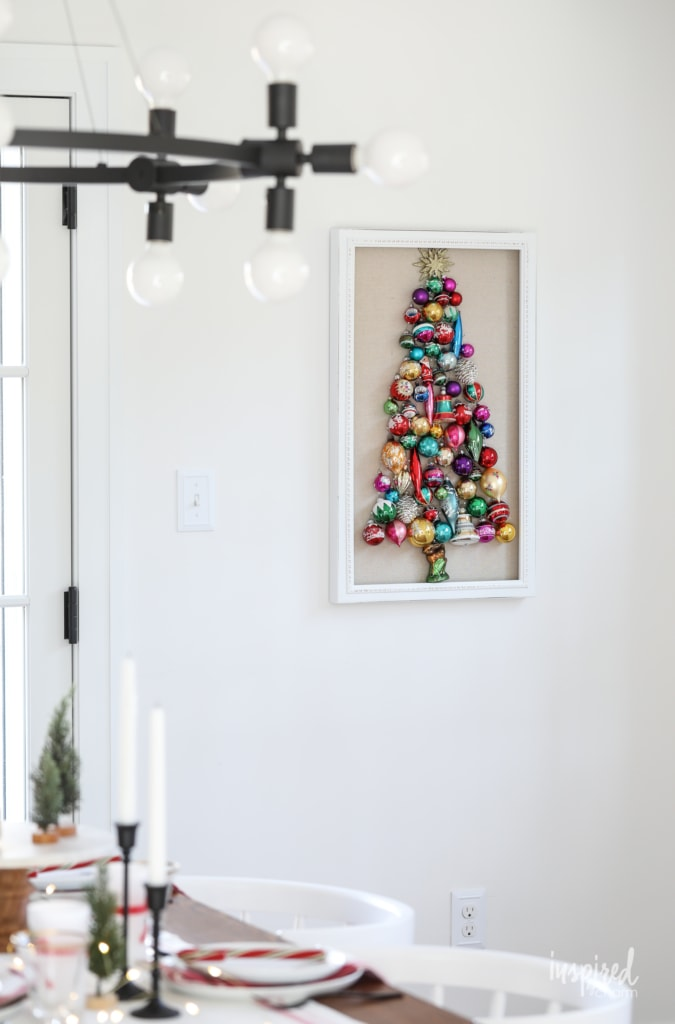 Learn how to make this DIY Vintage Ornament Wall Decor Tree #christmas #holiday #vintage #ornament #tree #walldecor #decorating