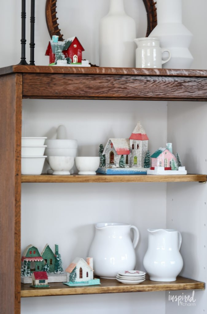Vintage Christmas Cabinet Decorating Ideas #christmas #vintage #putz #holiday #decor #ideas