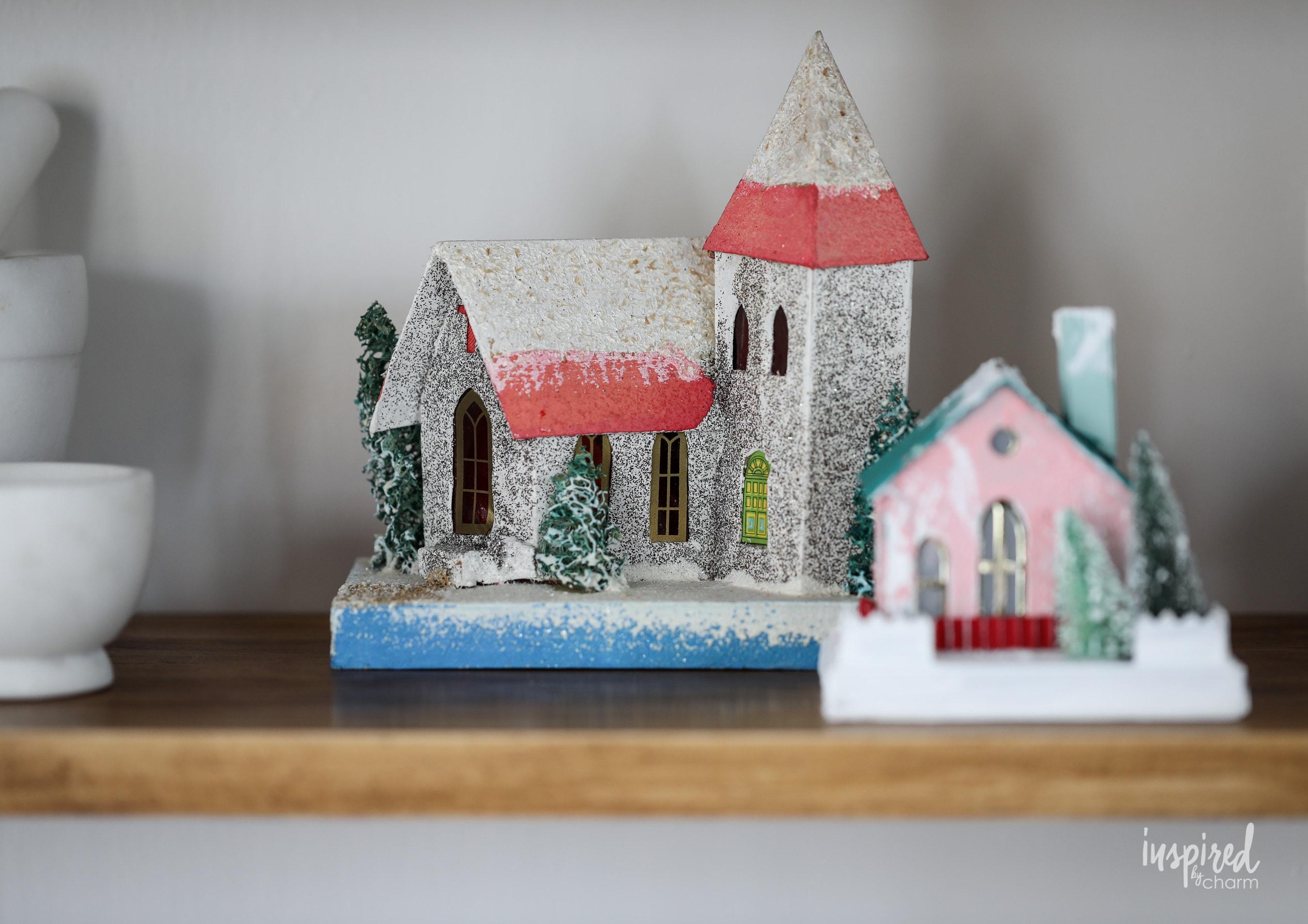 Vintage Christmas Cabinet Decorating Ideas #christmas #vintage #putz #holiday #decor #ideas