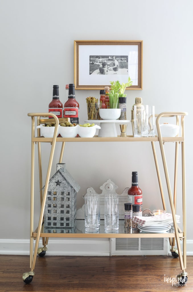 How to Style a Bloody Mary Bar #bloodymary #bar #cart #holiday #christmas #entertaining #cocktail